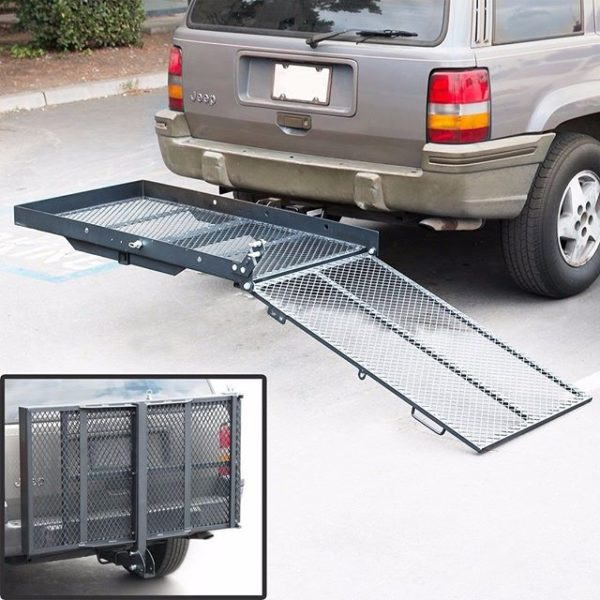 400 lb Power Wheelchair Scooter Mobility Folding Tow Hitch Bumper Carrier Lift Rack Hauler Loading Ramp