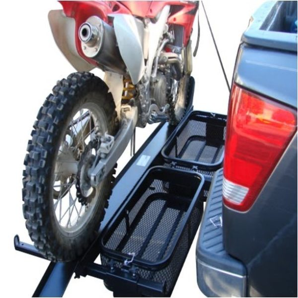 dirt bike motorcycle tow hitch carrier rack with storage cargo baskets