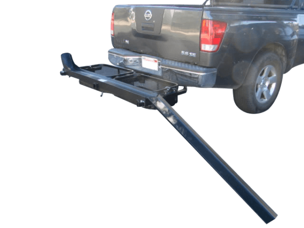 dirt bike motorcycle tow hitch carrier rack with storage cargo baskets assembled
