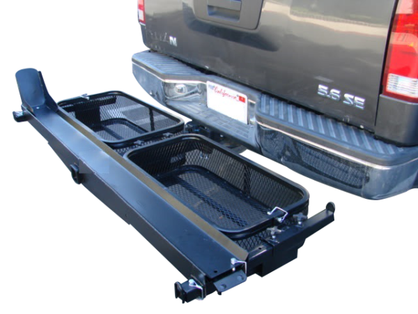 dirt bike motorcycle tow hitch carrier rack with storage cargo baskets front side view