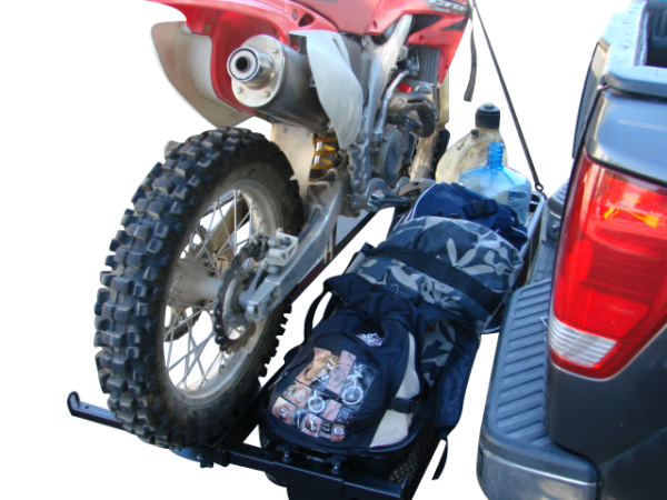 dirt bike motorcycle tow hitch carrier rack with storage cargo baskets passenger side view