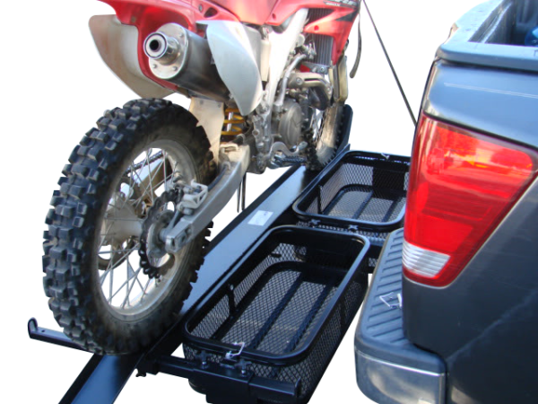 dirt bike motorcycle tow hitch carrier rack with storage cargo baskets side view