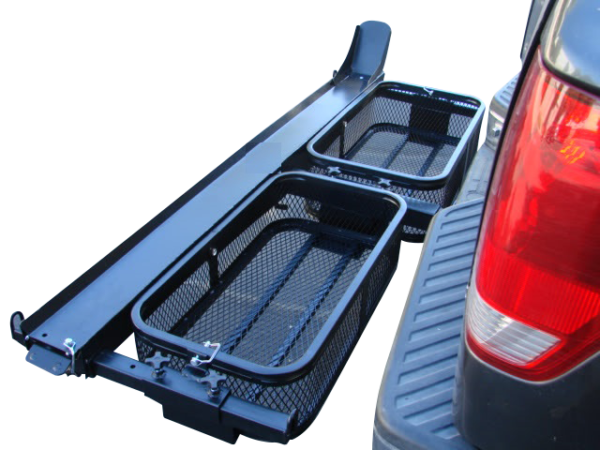 dirt bike motorcycle tow hitch carrier rack with storage cargo baskets view