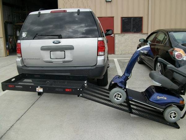 Hitch Carrier Lift to Transport and Load Scooter or Wheelchair