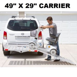 "XL 49""L X 29""W Aluminum Wheelchair Mobility Scooter Folding Tow Hitch Carrier Rack"