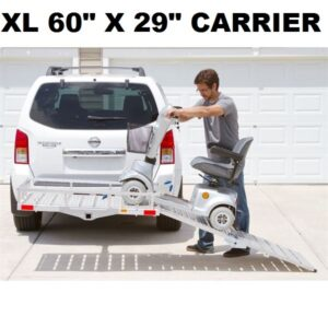 "XL 60"" X 29"" Wheelchair Mobility Scooter Folding Tow Hitch Carrier Rack Ramp"