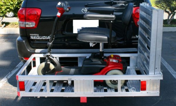 """XL 60"""" X 29"""" Wheelchair Mobility Scooter Folding Tow Hitch Carrier Rack Ramp Loaded"""