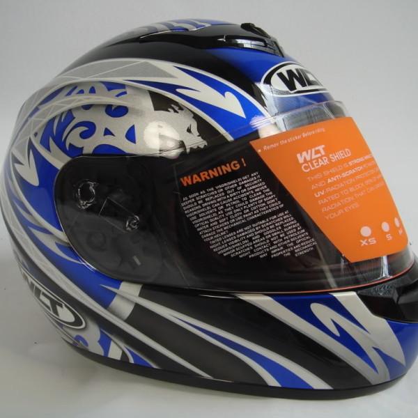 wma full face motorcycle helmet blue silver