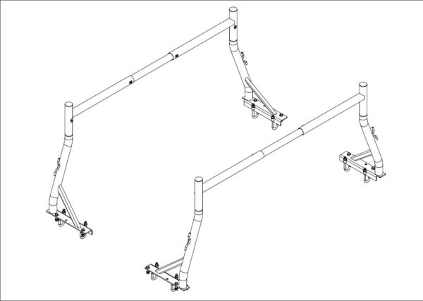 500 lb 2 Pc Set Universal Fit Boltless Pickup Truck Ladder Rack No Drill Drilling Required Schematics