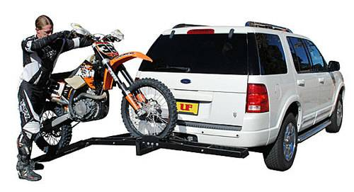 500 lb Single Steel Motorcycle Dirt Bike Tow Hitch Carrier Rack Hauler Loading