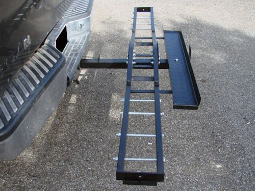 """500 lb Single Steel Motorcycle Dirt Bike Tow Hitch Carrier Rack Hauler With Loading Ramp InstalledDirt Bike or Scooter Rack Fits 2"""" Inch Tow Hitch Receiver"""