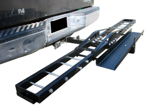 500 lb Single Steel Motorcycle Dirt Bike Tow Hitch Carrier Rack Hauler With Loading Ramp Side View