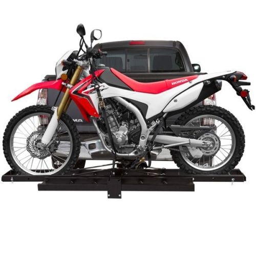 500 lb Single Steel Motorcycle Dirt Bike Tow Hitch Carrier Rack Hauler With Loading Ramp