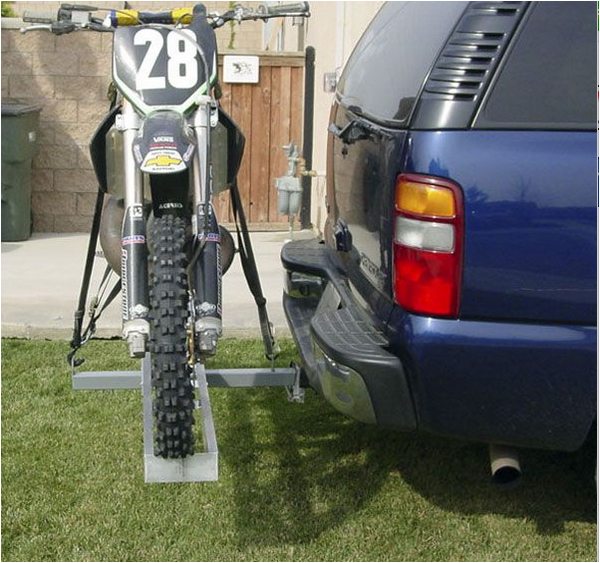 Aluminum Dirt Bike Motorcycle Tow Hitch Carrier Rack Side View