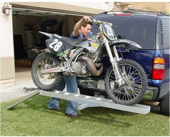 Motorcycle Tow Hitch Carrier Rack 450 lb Capacity Loaded