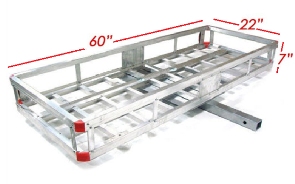 "Aluminum 60'x22"" Tow Hitch Cargo Carrier Rack Basket Hauler Dimensions"