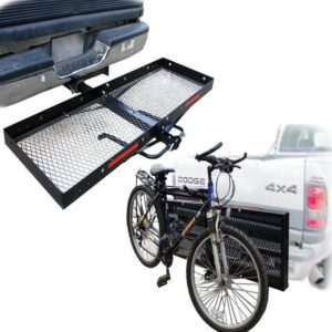 60x20 Tow Hitch Folding Cargo Carrier Basket Haulerand 3 Bike Rack Combo