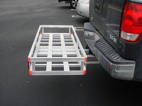 "Aluminum 60'x22"" Tow Hitch Cargo Carrier Rack Basket Hauler Side View"