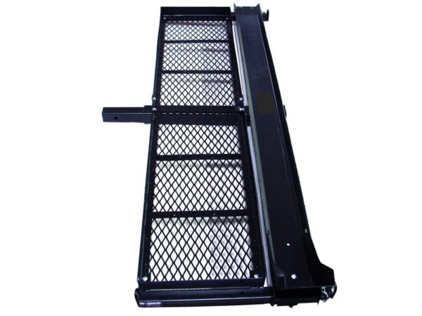Motorcycle Carrier for Tow Hitch with Gas Can Storage Shelf Basket