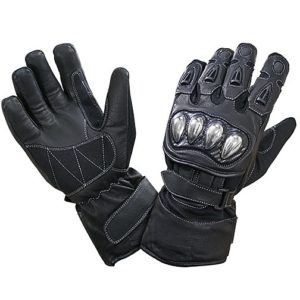 Black Leather and Nylon Gauntlet Motorcycle Racing Gloves