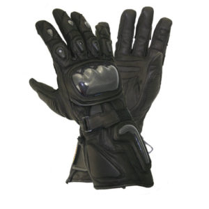 Black Leather Carbon Armor Motorcycle Gloves