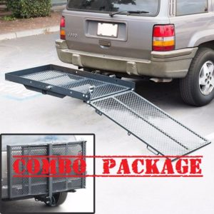 400 Lb Folding Scooter Carrier For Mobility Scooter Hitch Receiver Rack with Anti Tilt Hitch Pin Straps
