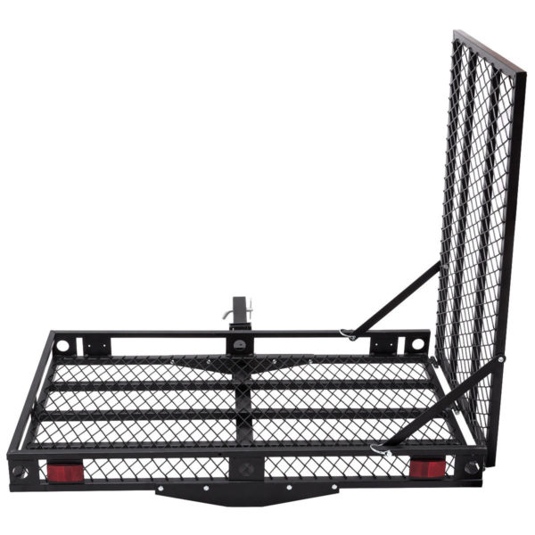 500 Lb Folding Tilt Up Wheelchair Mobility Moped Scooter Tow Hitch Carrier Rack with Loading Ramp