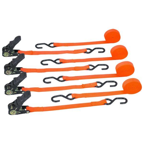 1500 lb. Capacity 1 in. x 12 ft. Ratchet Tie Down Straps, 4 Pack Set