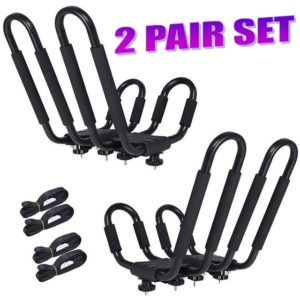 2 Pair (2 Set) Universal Kayak Canoe Roof Top Mount Carrier Rack