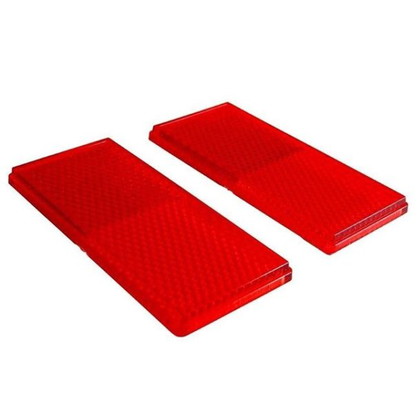 2 Pc Rectangular Stick-On Red Reflectors