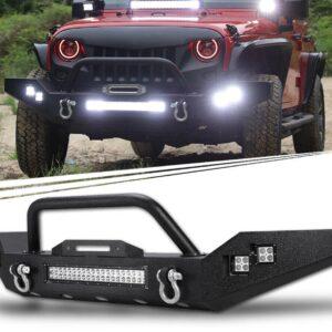 2007-2018 Rock Crawl Front Bull Bumper W/ LED light bar & Side LED Lights For Jeep Wrangler JK