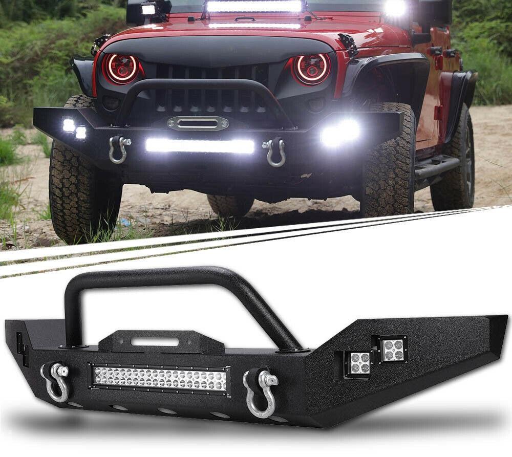 Jeep Wrangler Jk Front Bumper >> 07 18 Jeep Wrangler Jk Rock Crawl Front Bumper W Led Light Bar Side Led Lights