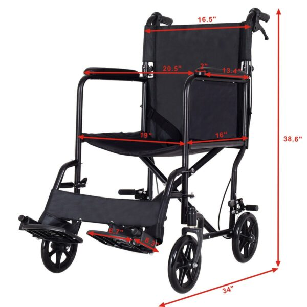 FDA Approved Lightweight Foldable Medical Wheelchair w/ Hand Brakes 9