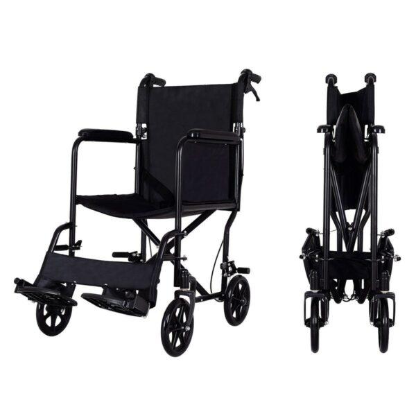 FDA Approved Lightweight Foldable Medical Wheelchair w/ Hand Brake Folding Side