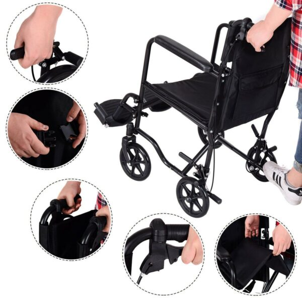 FDA Approved Lightweight Foldable Medical Wheelchair w/ Hand Brakes Features