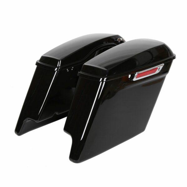 "Vivid Black 4.5"" Stretched Extended Saddlebags For Harley Touring 2014 - 2018"