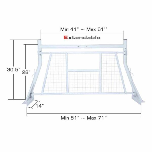 800 lb Truck Pickup Ladder Headache Back Rack with Window Guard Screen Protector Height and Width Dimensions