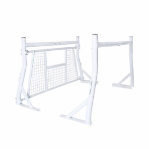 800 lb White Truck Pickup Ladder Headache Back Rack with Rear Guard Window Screen Protector