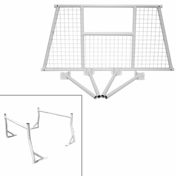 White Truck Headache Rack for Pickup With Window Screen Protector Combo