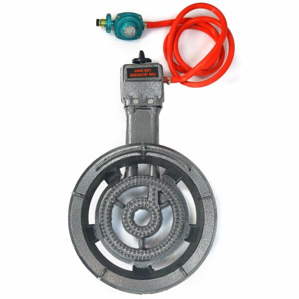 Electric Igniter Portable Propane Gas Stove Single Burner with Hose and Regulator Full View