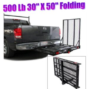 500 Lb Steel 30 x 50 Folding Tilt Up Wheelchair Mobility Scooter Tow Hitch Carrier Lift Rack with Loading Ramp