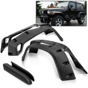 """97-06 Jeep Wrangler TJ 7"""" Inch Wide Pocket Extended Fender Flares 6 Pc Kit Black"""