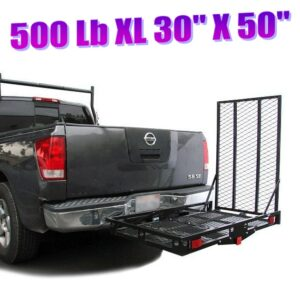 XL 500 Lb Heavy Duty Steel Wheelchair Mobility Scooter Tow Hitch Carrier Car Bumper with Loading Ramp