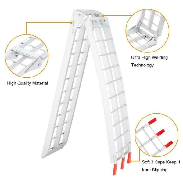 High Quality Pair Set 7.5' Ft Aluminum Arched Folding Loading Ramps