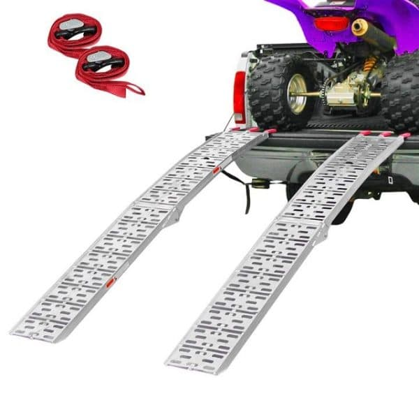 Pair Set 7.5' Ft Aluminum Arched Folding Loading Ramps Pickup Truck for Quad ATV