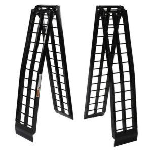 Pair Set 9' Ft Arched Aluminum Folding Loading Ramp Ramps Pickup Truck for Motorcycle Dirt Bike Quad ATV Lawnmower