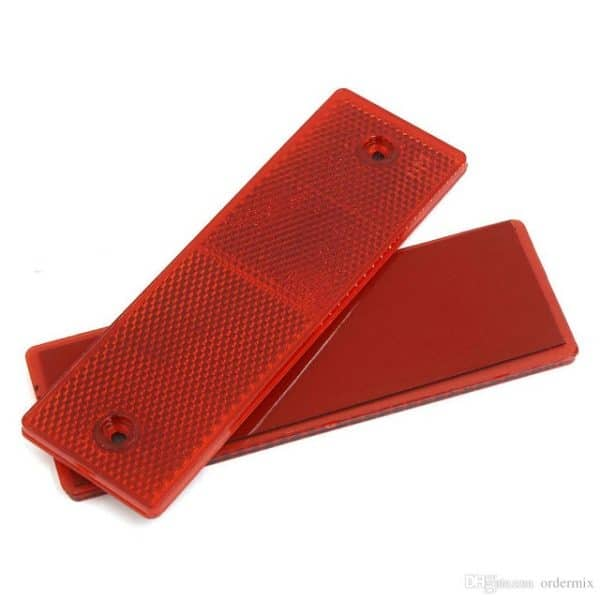 2 Pc Red Rectangular Stick-on Car Visibilty Warning Reflectors for Carriers, Truck, Pickup, or Trailer - Waterproof and Self-Adhesive