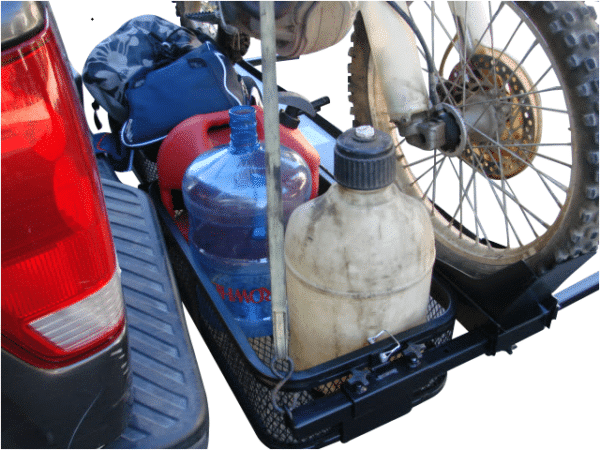 Dirt Bike Motorcycle Tow Hitch Carrier Rack with Storage Cargo Baskets Great for Gas Cans
