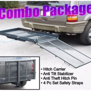 Folding Power Wheelchair Mobility Scooter Tilt Up Tow Hitch Carrier Rack Lift Combo Savings Package Complete Kit