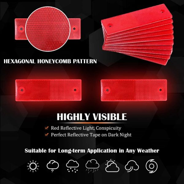 Highly Visible Red Reflectors Suitable for Any Weather Condition